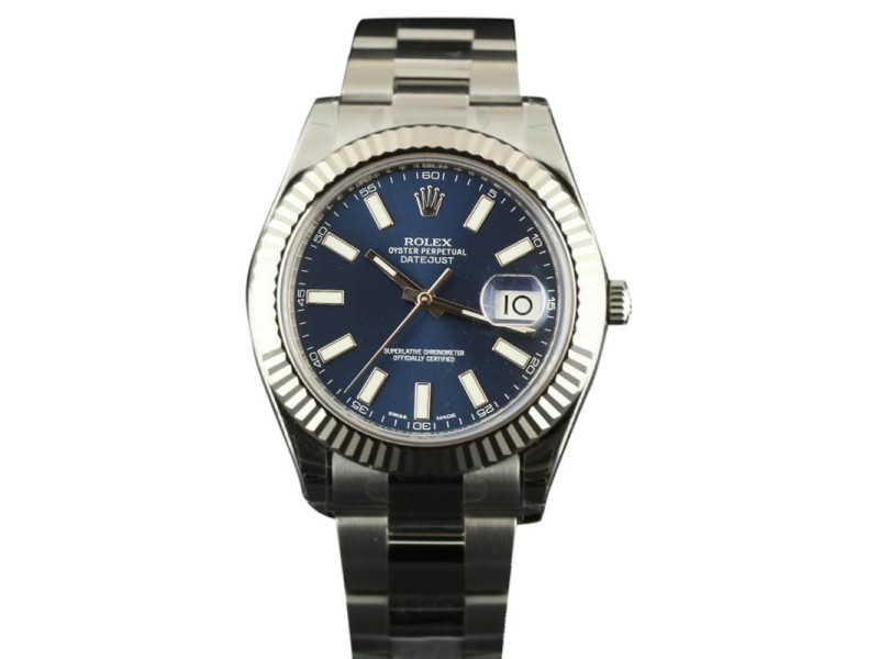 Rolex Datejust II 116334 Steel & White Gold Bezel Blue Stick 41mm Mens Watch