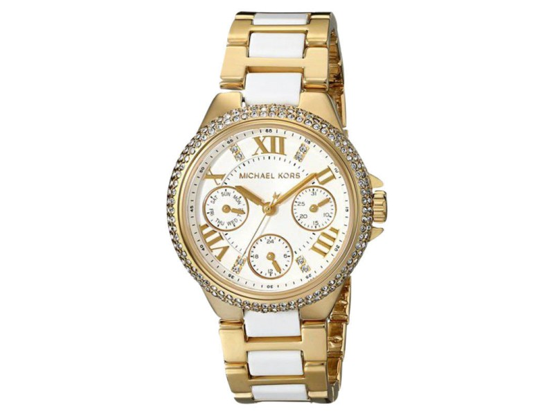Michael Kors MK5945 Camille Gold-Tone Acrylic White Bracelet Women's Watch