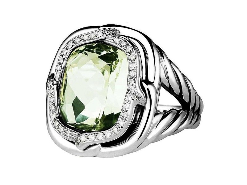 David Yurman Sterling Silver Diamond & Prasiolite Green Topaz Ring