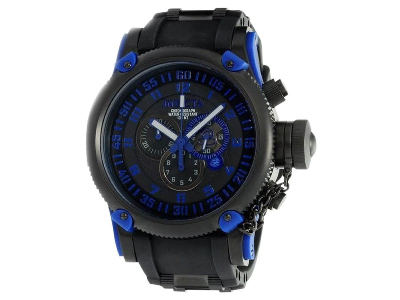 Invicta 0518 Black Dial Chrono Russian Diver Mens Watch