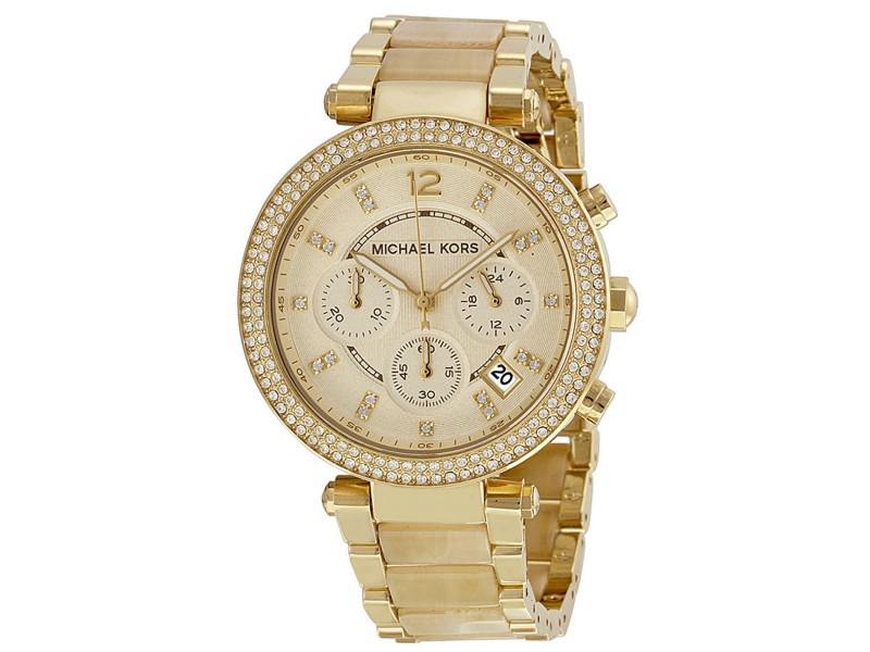 Michael Kors MK5632 Parker Champagne Dial Gold Tone Chronograph Womens Watch