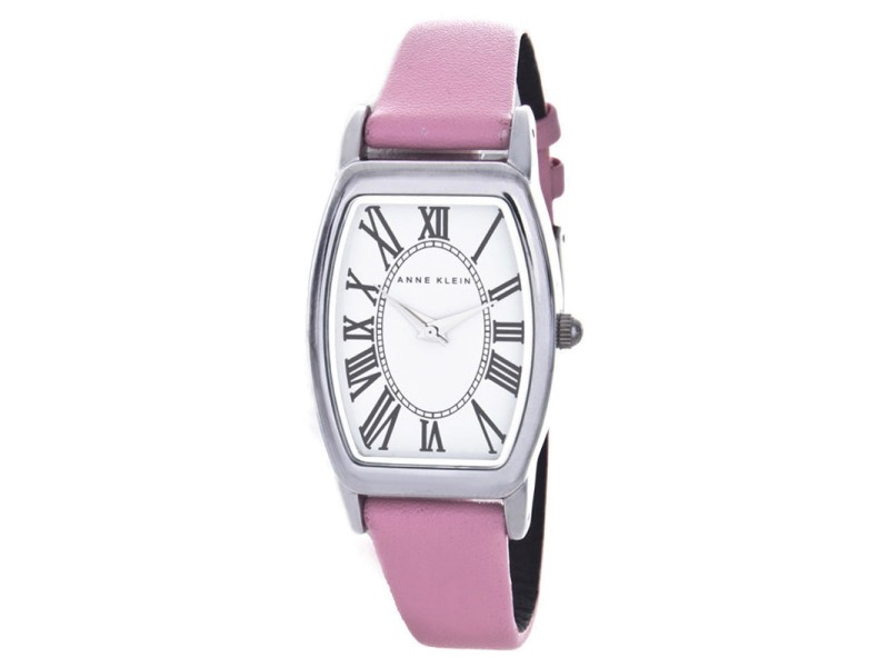 Anne Klein AK/1565 White Dial Pink Leather Strap Women's Watch