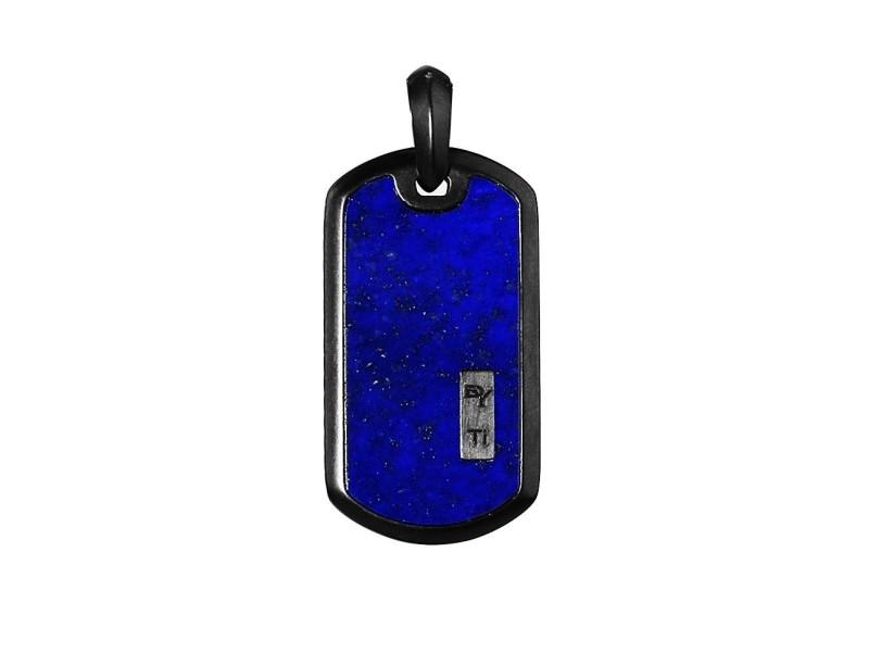 David Yurman Black Titanium Lapis Lazuli Dog Pendant