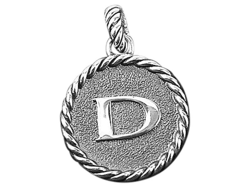 "David Yurman 925 Sterling Silver Initial ""D"" Round Pendant"