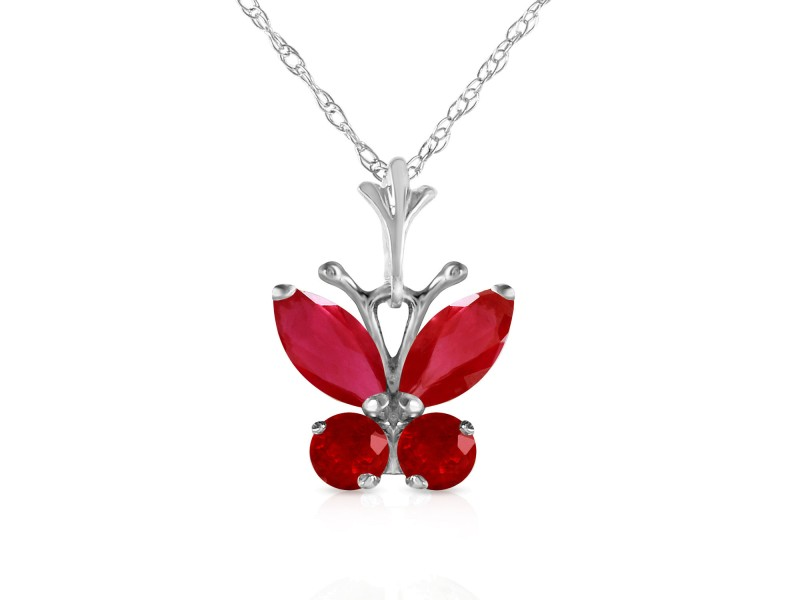 0.6 CTW 14K Solid White Gold Butterfly Necklace Natural Ruby
