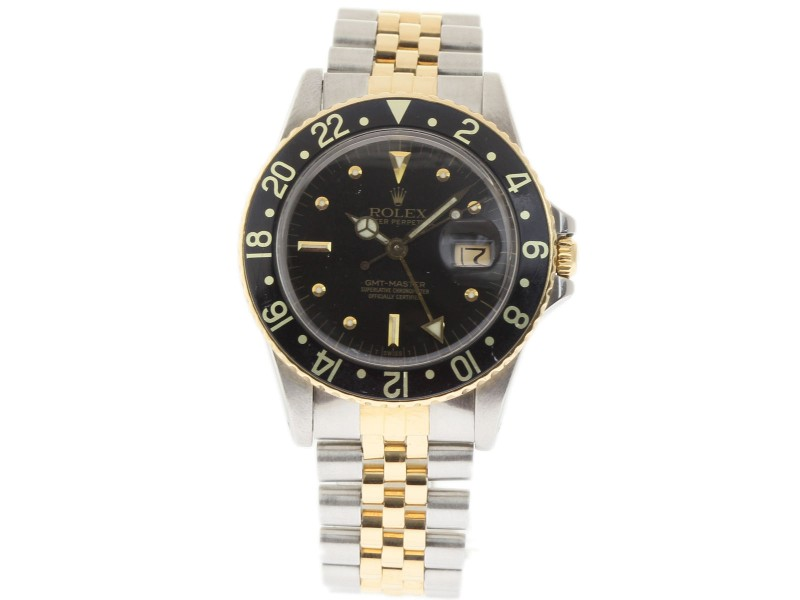 Rolex GMT Master 16753 Stainless Steel and Yellow Gold Vintage 40mm Mens Watch