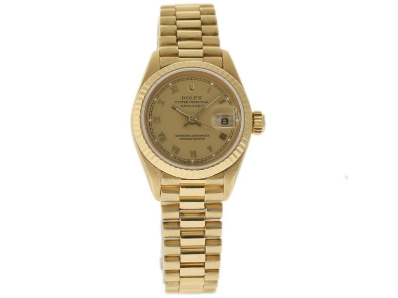 Rolex President Datejust 69178 Yellow Gold Champagne 26mm Womens Watch 1989