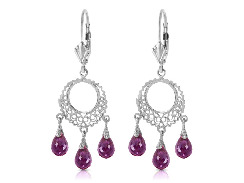 3.75 CTW 14K Solid White Gold Purposeful Encounters Amethyst Earrings