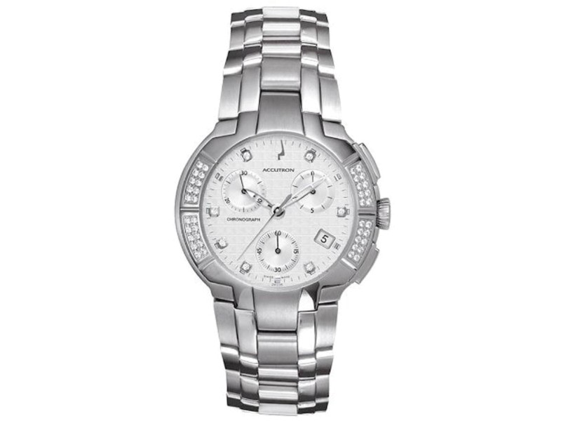 Bulova 26E05 White Dial Diamond Stainless Steel Chronograph 40mm Mens Watch