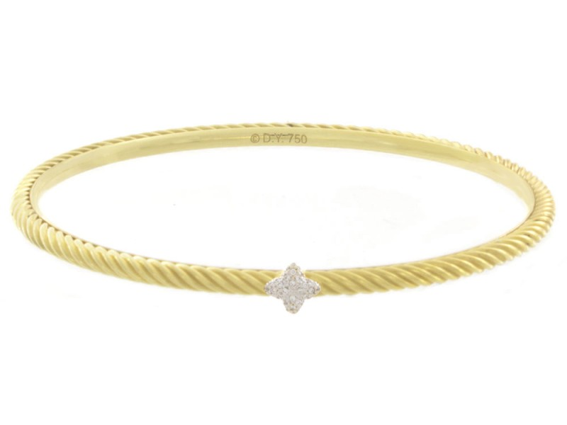David Yurman 18K Yellow Gold and Diamond Cuff Bracelet