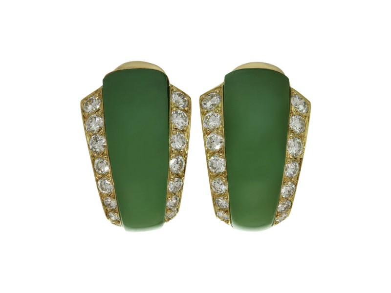 Van Cleef Arples 18k Yellow Gold Diamond Green Chrysoprase Earrings