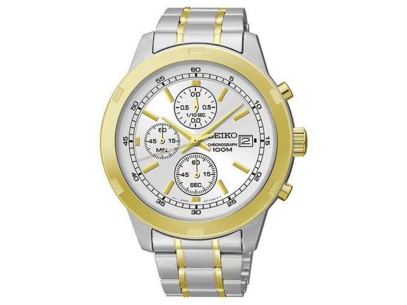 Seiko SKS432 Two-Tone Chronograph Quartz 43mm Mens Watch