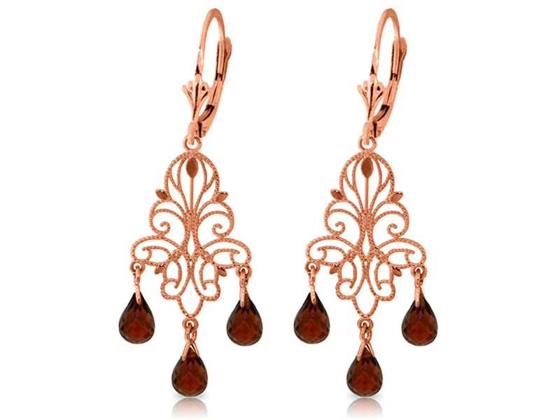 3.75 CTW 14K Solid Rose Gold Chandelier Earrings Natural Garnet