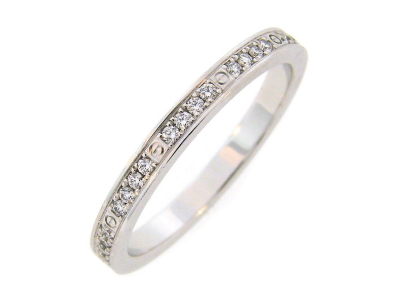 Cartier 18K White Gold Diamond Love Band Ring Size 5.25