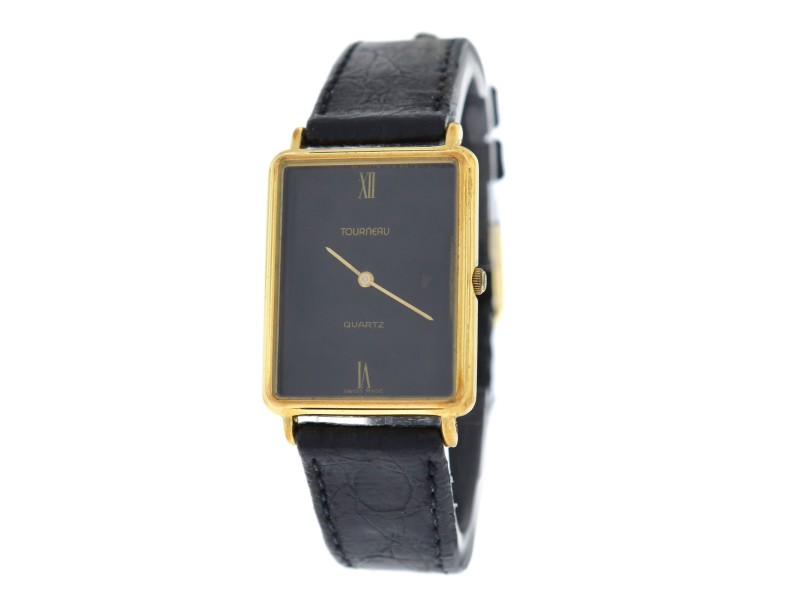 tourneau stainless steel yellow gold leather quartz vintage 24mm womens watch