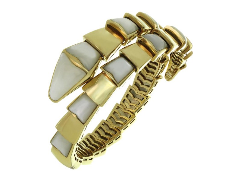 Bulgari Serpenti Mother Of Pearl 18k Yellow Gold Wrap Snake Bracelet