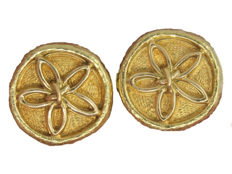Vintage Tiffany & Co. Schlumberger 18K Yellow Gold Flower Button Clip Earrings