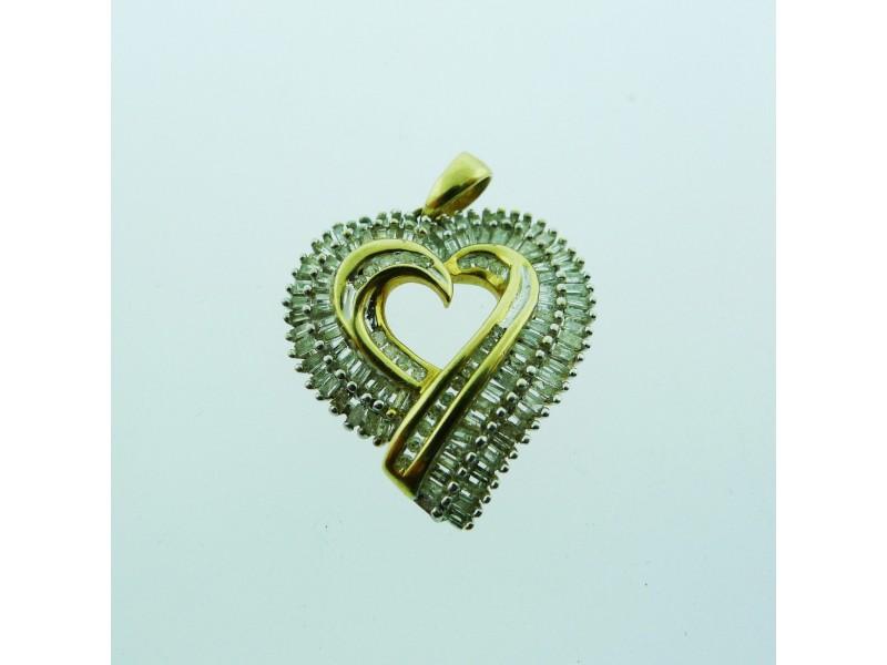 10k Yellow Gold Diamond Heart Pendant Charm