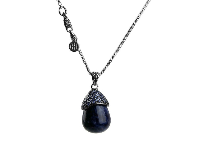 JOHN HARDY SILVER CLASSIC LAVA SELESTIAL ORB SODALITE SAPPHIRE NECKLACE