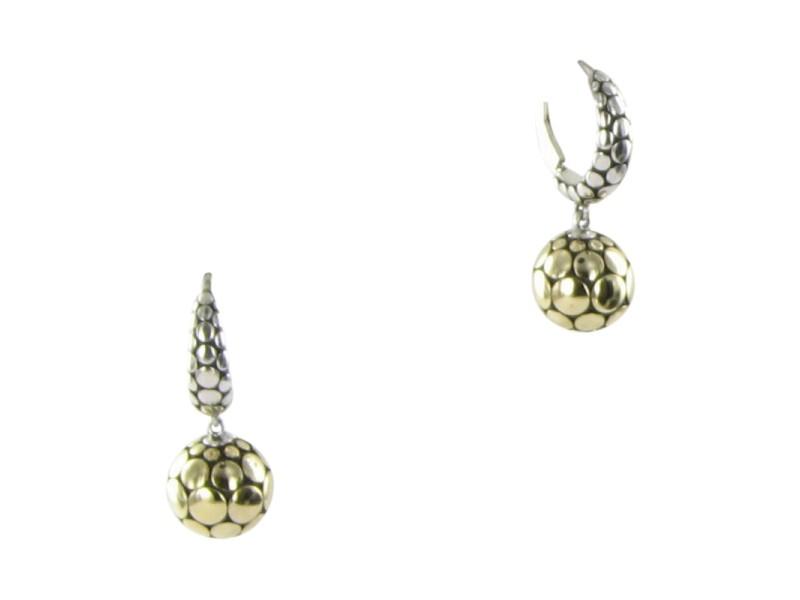John Hardy Dot Ball 925 Sterling Silver & 18K Yellow Gold Drop Earrings