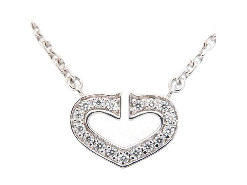 Cartier C Heart Necklace 18K White Gold & Diamond
