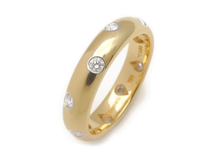 Tiffany & Co. Dots 18k Yellow Gold and Platinum Diamond Ring Size 5