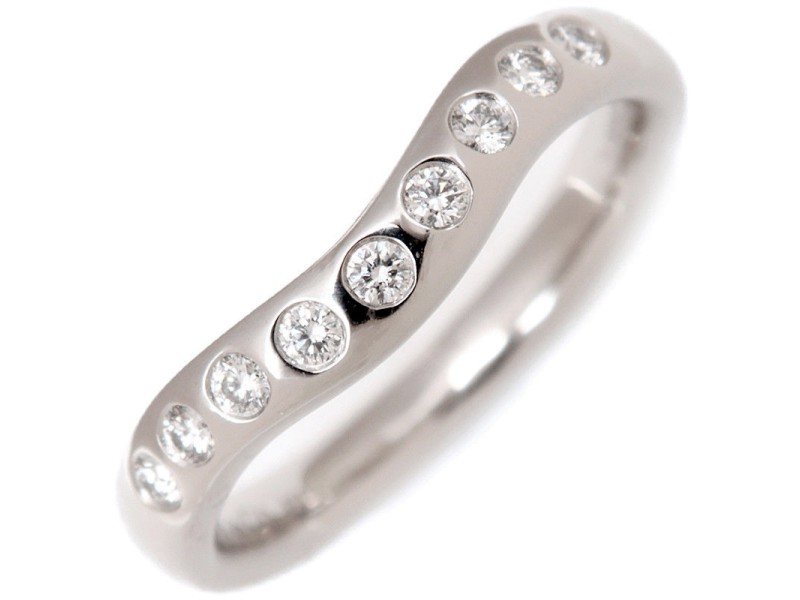 Tiffany & Co. Curved Platinum Diamond Ring