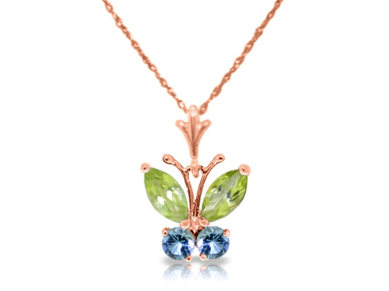 0.6 CTW 14K Solid Rose Gold Butterfly Necklace Blue Topaz Peridot