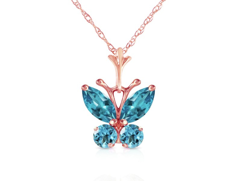 0.6 CTW 14K Solid Rose Gold Butterfly Necklace Blue Topaz