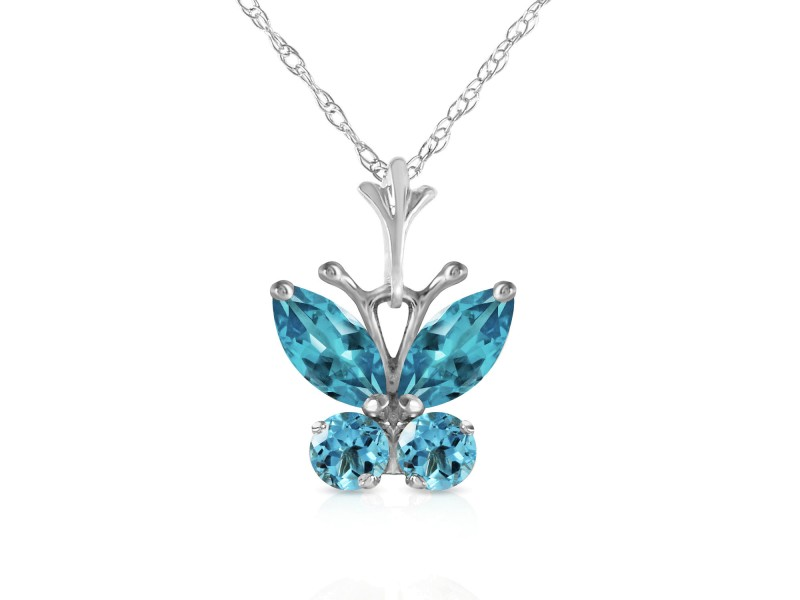 0.6 CTW 14K Solid White Gold Butterfly Necklace Blue Topaz