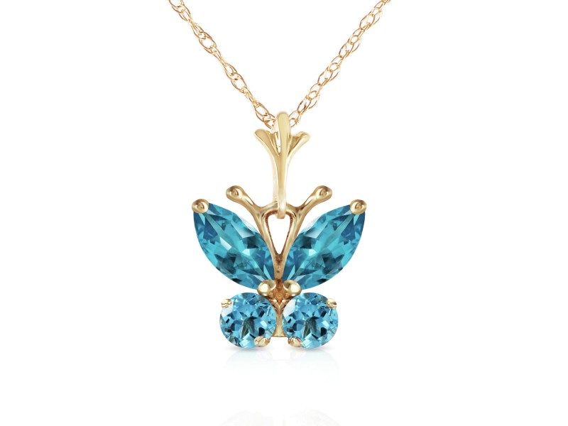 0.6 CTW 14K Solid Gold Butterfly Necklace Blue Topaz
