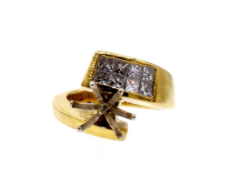 18k Yellow Gold Diamond 1.00ct Ladies Mounting Ring 11.8 Grams Size 6