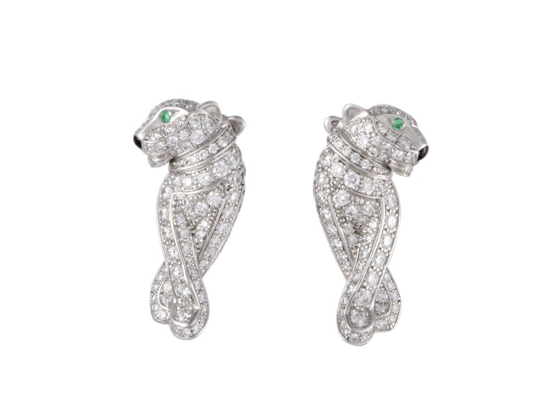 Cartier Panthere 18K White Gold 0.66ct Diamond and Emerald Earrings