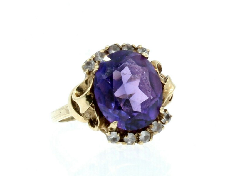 14K YELLOW GOLD LADIES OVAL AMETHYST CZ RING 7.7 GRAMS SIZE 10