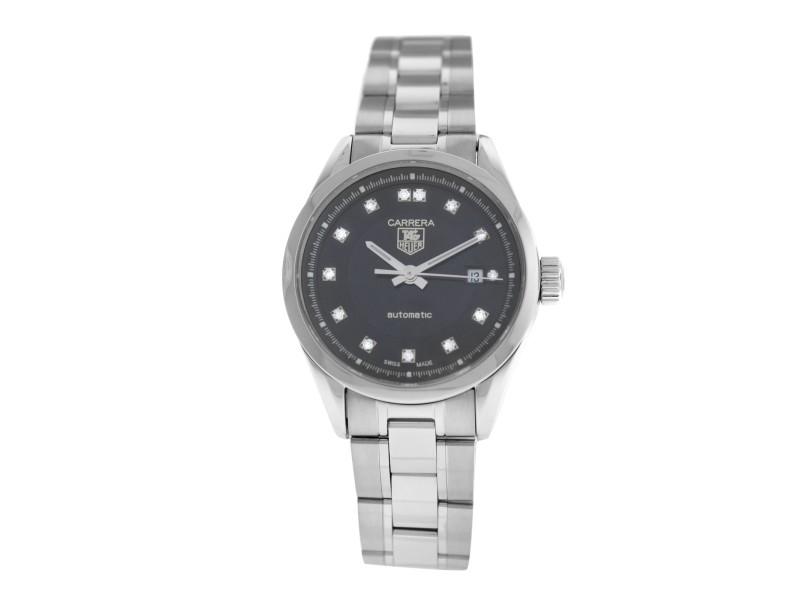 Ladies Tag Heuer Carrera WV2410.BA0793 Diamond Steel Automatic 27MM Watch