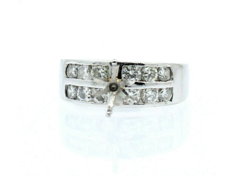 Platinum 1.20ct Round Cut Diamond Mounting Ladies Ring Size 5.75