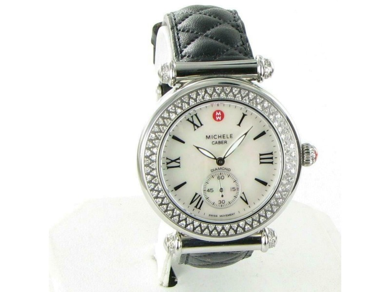 Michele Caber Diamond Bezel Watch Mother of Pearl MW16A01A2025 Blk Strap 0.58cts