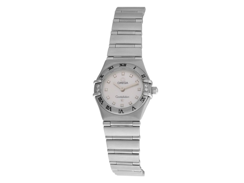 Ladies Omega Constellation 1567.75 Steel MOP Diamond Quartz 22MM Watch