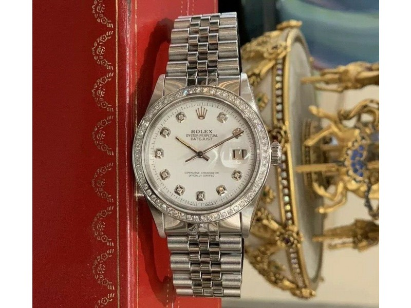 Rolex Datejust Stainless Steel 36mm Mens Diamond White Dial Watch Jubilee 1601