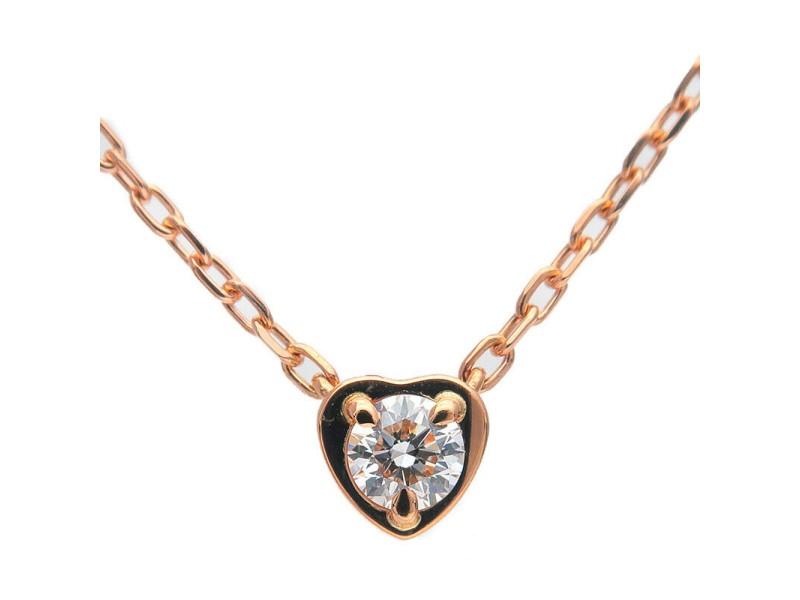 Auth Cartier Diamants Légers Heart Necklace 1P Diamond 0.13ct K18PG Used F/S