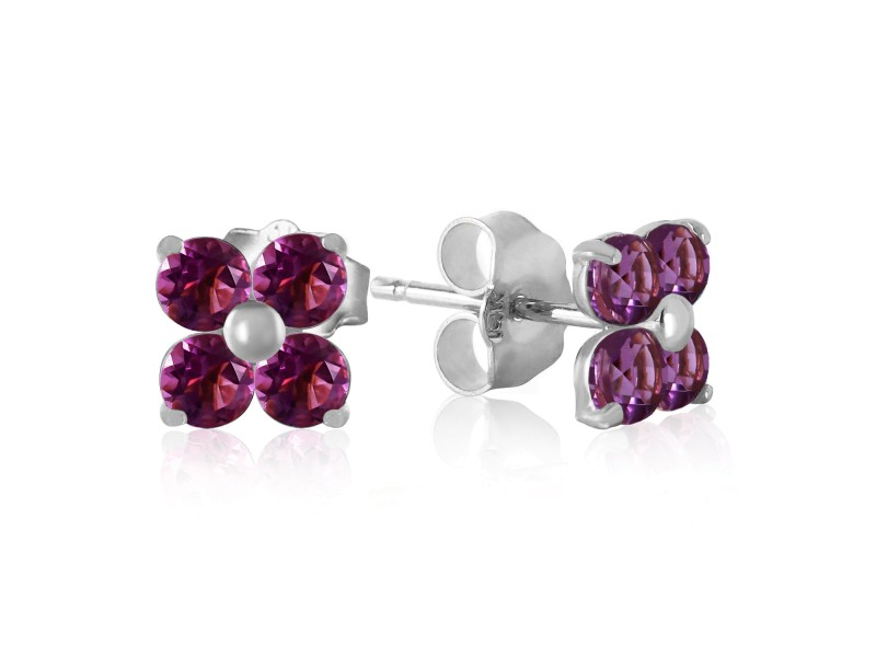 1.15 CTW 14K Solid White Gold Purple Splash Amethyst Earrings