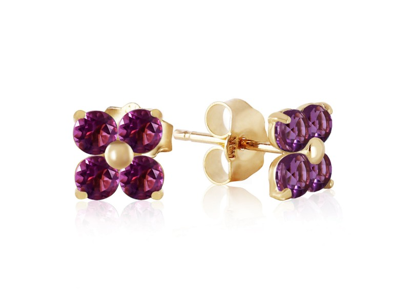 1.15 CTW 14K Solid Gold New Melody Amethyst Earrings