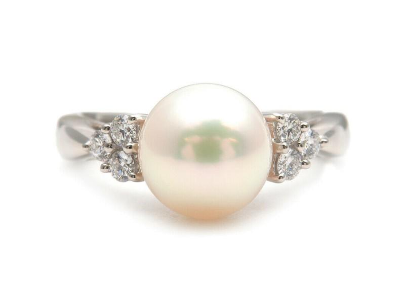 Authentic MIKIMOTO Pearl Diamond Ring Platinum PT950 US6 HK12.5 EU51.5 Used F/S