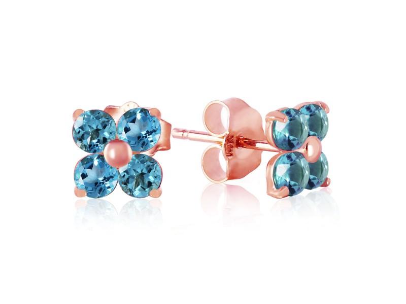 1.15 CTW 14K Solid Rose Gold Stud Earrings Blue Topaz