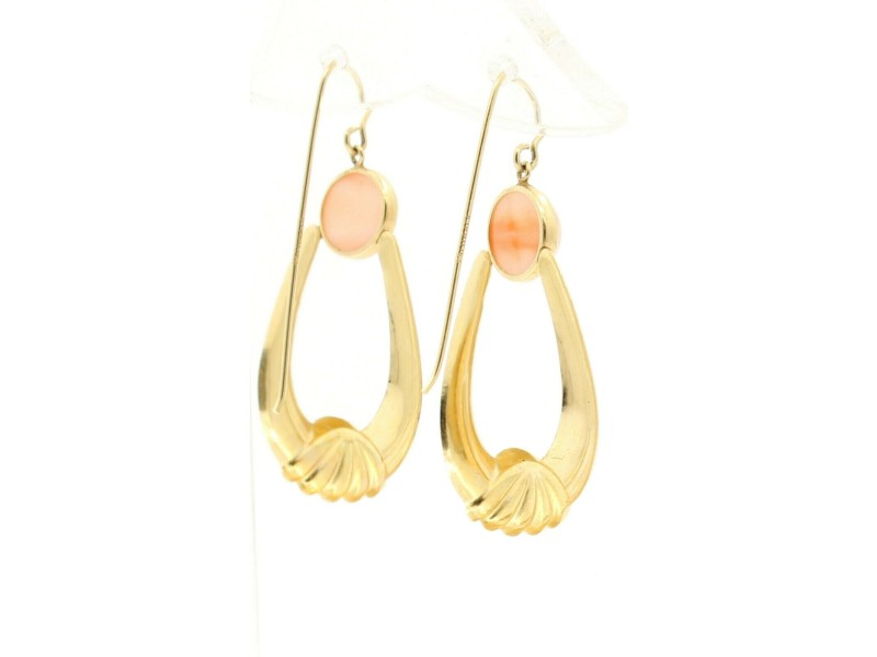 14k Yellow Gold Oval Pink Coral Dangling Earrings
