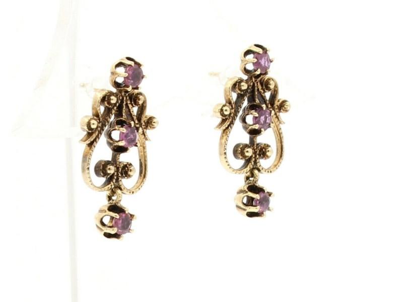 14k Yellow Gold Ornate Ruby Dangling Earrings