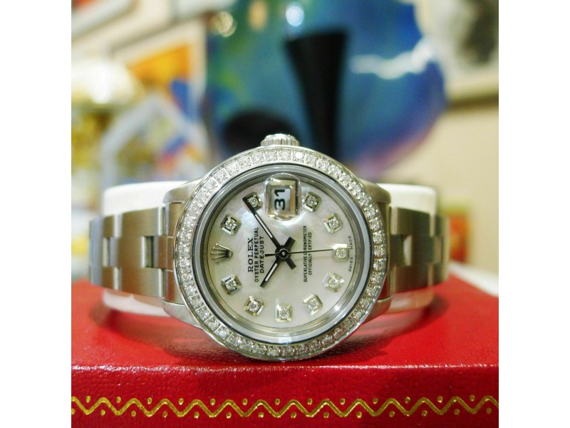 ROLEX Oyster Perpetual Lady-Datejust 26mm Watch in Stainless Steel and Diamonds