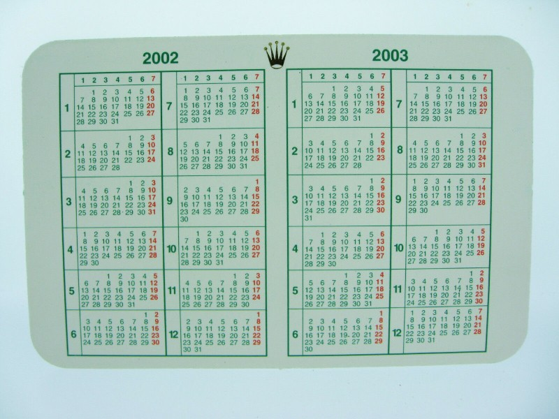 ROLEX 2002/2003 CALENDAR CARD