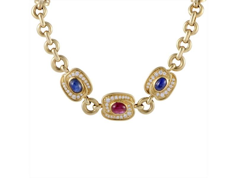 Van cleef arpels 18k yellow gold 145ct diamond sapphire and ruby van cleef arpels 18k yellow gold 145ct diamond sapphire and ruby pendant necklace aloadofball Image collections