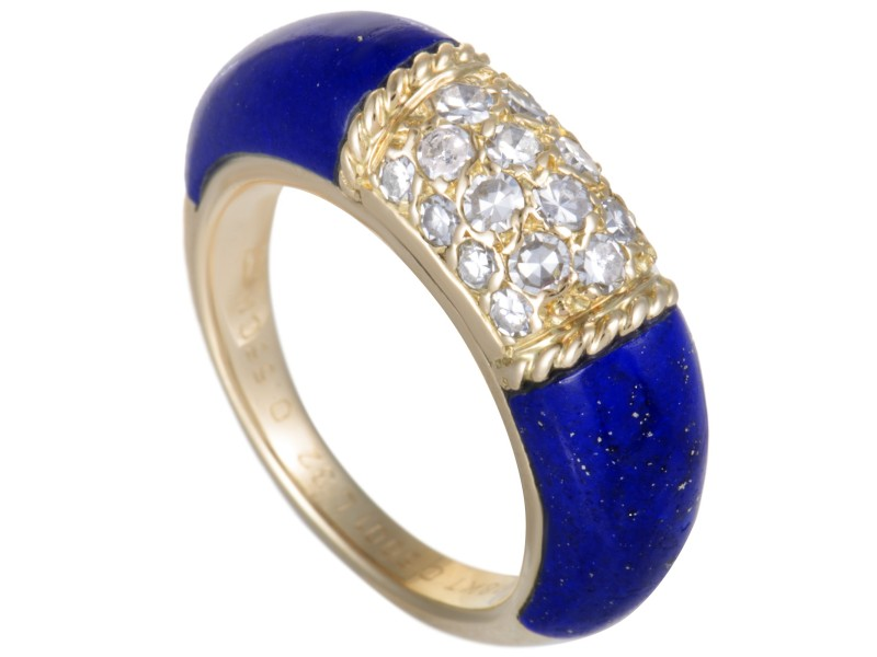 Van Cleef & Arpels 18K Yellow Gold 0.55ct Diamonds and Lapis Lazuli Bombe Ring Size 6